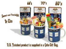 Doctor Who Tardis  Mug (hmb) with/without a selection of 1960's, 70's or 1980's retro Sweets.